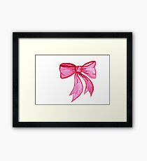 Pink Watercolor Bow Framed Print