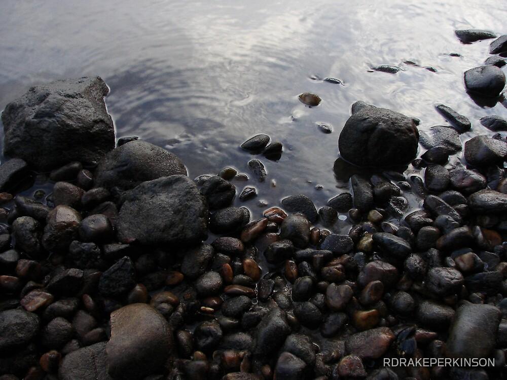 RIVER STONES MORNING LIT by RDRAKEPERKINSON