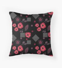 Watercolor . Red poppies Black  Throw Pillow