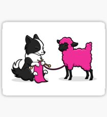 Knitting Border Collie and Friend Sticker