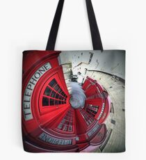 Telephone boxes in a spin Tote Bag