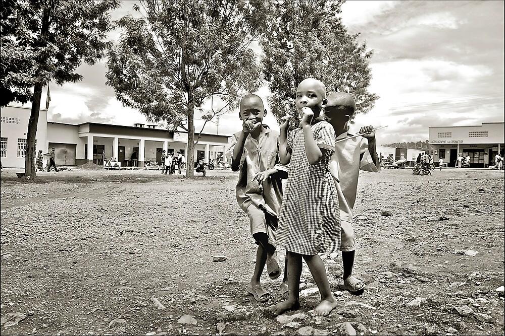 'Three kids and a camera', Northern Rwanda. by Melinda Kerr