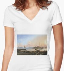 Fitz Henry Lane - The Fort And Ten Pound Island, Gloucester, Massachusetts Women's Fitted V-Neck T-Shirt