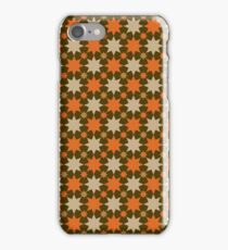 brown background cream orange stars pattern iPhone Case/Skin