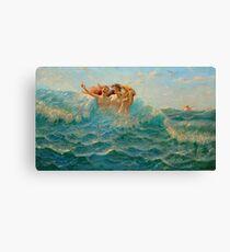 Seascape Sea Water Sky Girls  Canvas Print