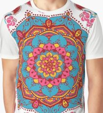 Indian Flower Patterned Mandala Graphic T-Shirt
