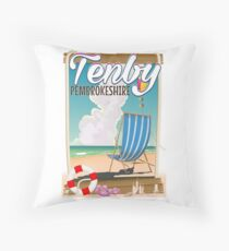 Tenby Pembrokeshire beach travel poster Throw Pillow