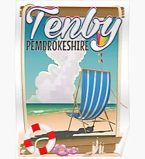 Tenby Pembrokeshire beach travel poster Poster