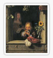Frans Van Mieris The Elder - Boy Blowing Bubbles1663 Sticker