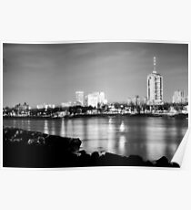 Tulsa Skyline Black and White on the River Poster