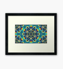 Abstract fractal feather peacock wallpaper.  Framed Print