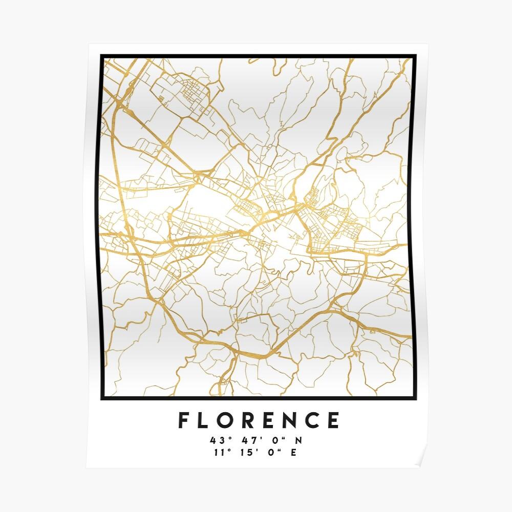 FLORENZ ITALIEN CITY STREET MAP ART Poster