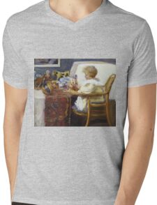 Frederick William Mac Monnies - Baby Berthe In A High Chair With Toys Mens V-Neck T-Shirt