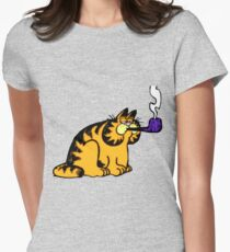 Garfield with pipe Womens Fitted T-Shirt