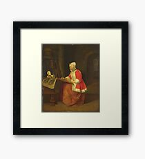 Gabriel Metsu - A Young Woman Seated Drawing Framed Print