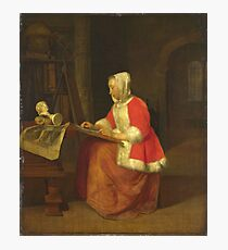 Gabriel Metsu - A Young Woman Seated Drawing Photographic Print