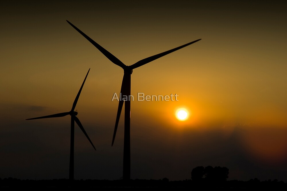 Wind Turbines - Lincolnshire. by Alan Bennett