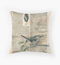 Carolina Wren Dictionary Drawing Throw Pillow