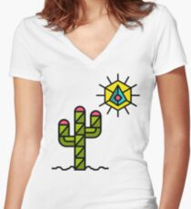 Cactus and sun, California, Mexico, Australia, Desert, Cacti Women's Fitted V-Neck T-Shirt