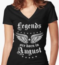 Legends are born in August Happy Birthday Super Star  Women's Fitted V-Neck T-Shirt