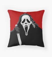 Scream - Ghostface with knife and phone Throw Pillow
