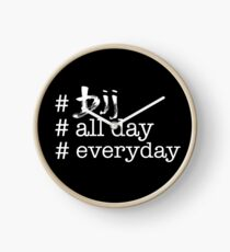 BJJ All Day Everyday (white) Clock