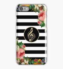 Musical Notes On Vintage Flowers And Black And White Stripes iPhone Case/Skin