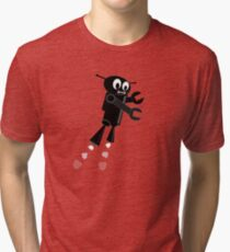 Black Flying Robot Tri-blend T-Shirt