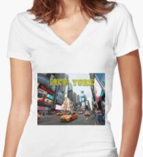 ICONIC! TIMES SQUARE NEW YORK CITY Women's Fitted V-Neck T-Shirt