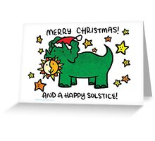 Christmas Dinosaur Triceratops Greeting Card
