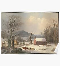 George Henry Durrie - Red School House . Country Scene  Poster
