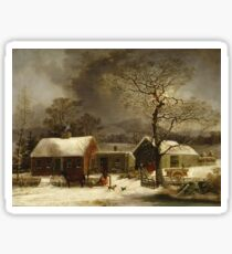 George Henry Durrie - Winter Scene In New Haven, Connecticut Sticker
