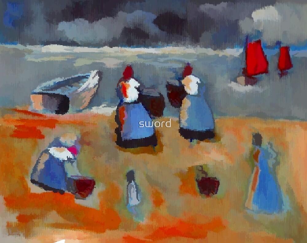 Fishergirls (from my original acrylic painting) digitally enhanced) by sword