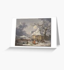 George Morland - Winter Landscape With Figures Ca. 1785 Greeting Card