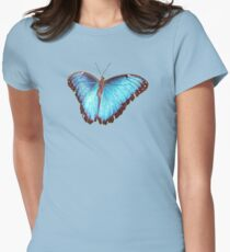 Blue Morpho Butterfly Wings Spread Womens Fitted T-Shirt