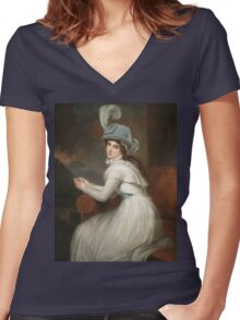 George Romney - Lady Hamilton Women's Fitted V-Neck T-Shirt