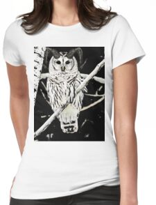 Horned Owl Womens Fitted T-Shirt