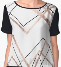 Rose Gold White Linear Triangle Abstract Pattern Chiffon Top