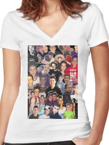Hunter Rowland - Collage Design Women's Fitted V-Neck T-Shirt