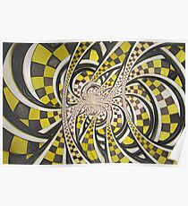 Liquid Taxi Cab, a Retro Yellow Checkered Fractal Poster