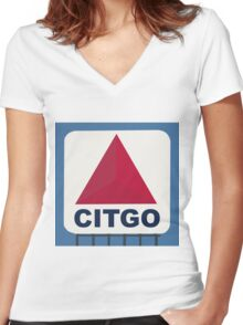 Fenway Citgo Sign Women's Fitted V-Neck T-Shirt