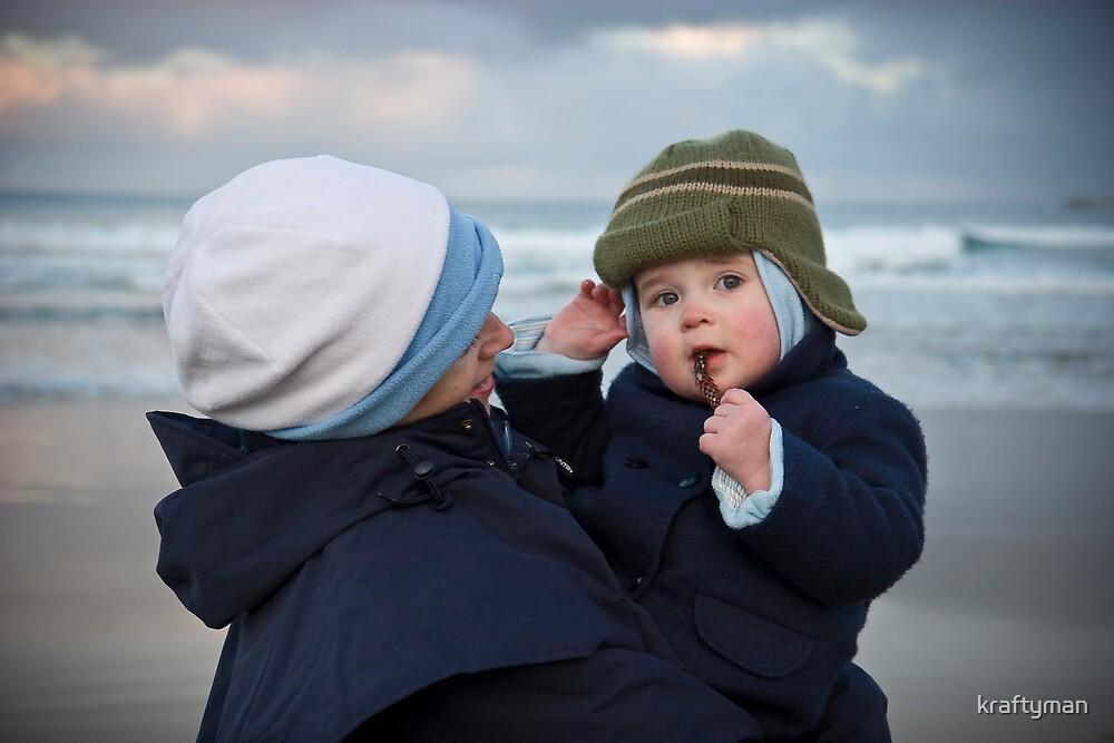 On a cold winter beach by kraftyman
