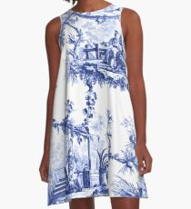 Blue Chinoiserie Toile A-Line Dress