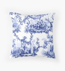 Blue Chinoiserie Toile Throw Pillow
