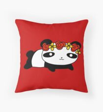 Flower Crown Panda Throw Pillow
