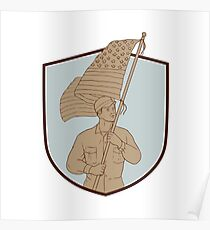American Soldier Waving USA Flag Crest Drawing Poster