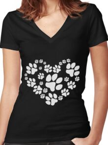 Love Paw Women's Fitted V-Neck T-Shirt