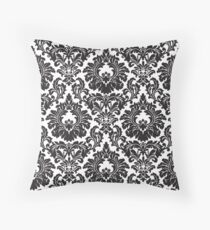 French Provincial Fleur De Lis in classic Black + White Throw Pillow