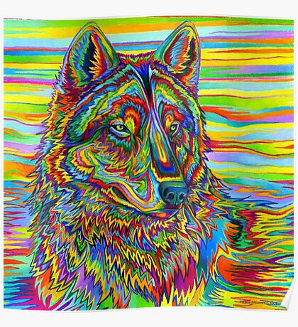 Psychedelic Wolf Poster