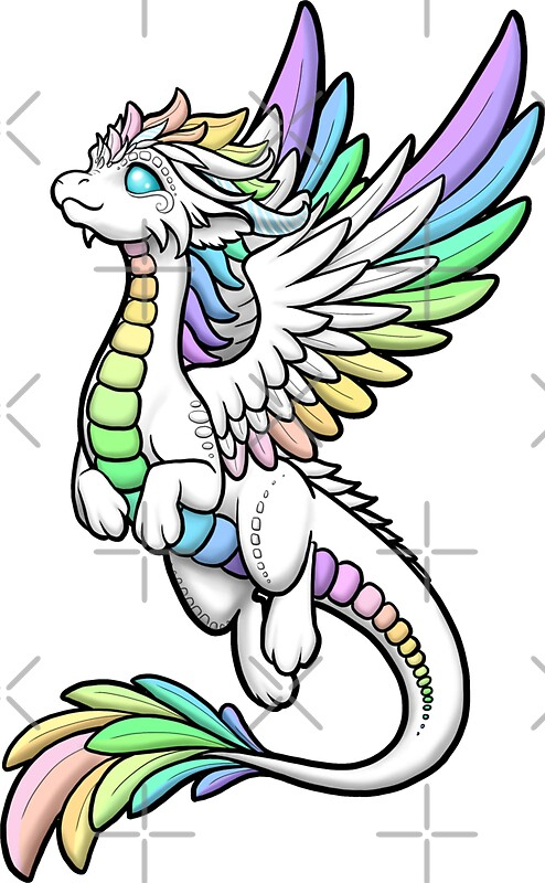 "Angel Dragon: ""Rainbow Angel Dragon"" Stickers By Rebecca Golins"